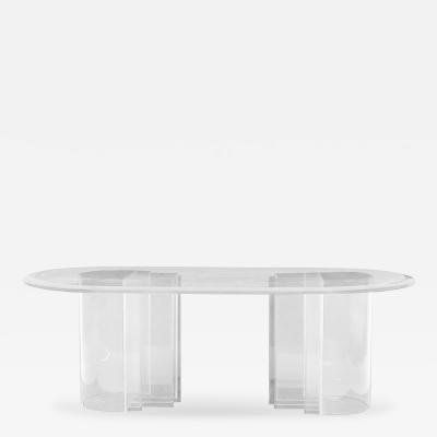 Charles Hollis Jones Double Pedestal Table in Lucite by Charles Hollis Jones Blade Line