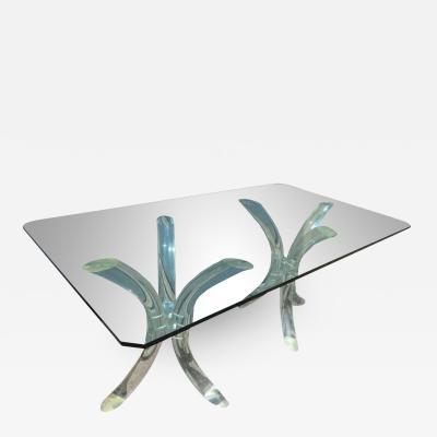 Charles Hollis Jones Fabulous Double Pedestal Lucite Tusk Table Desk by Charles Hollis Jones