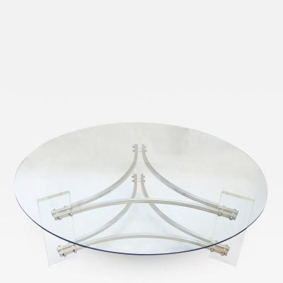 Charles Hollis Jones Glass Lucite Coffee Table by Charles Hollis Jones