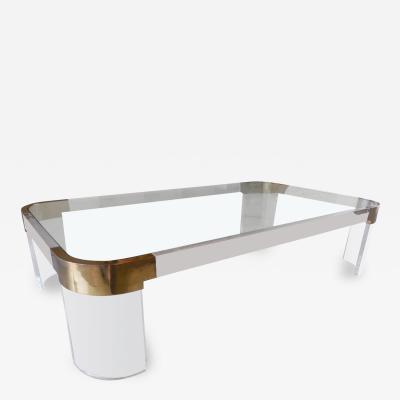 Charles Hollis Jones Large Charles Hollis Jones Waterfall Coffee Table in Brass Lucite