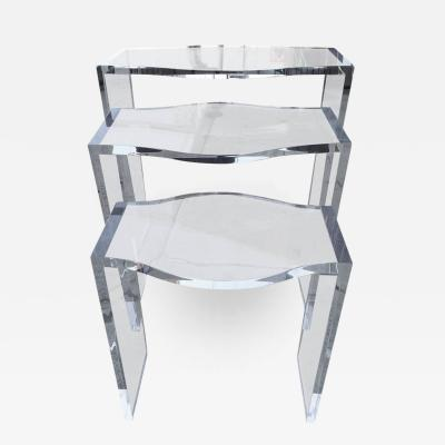 Charles Hollis Jones Lucite Nesting Tables by Charles Hollis Jones from the Routed Line
