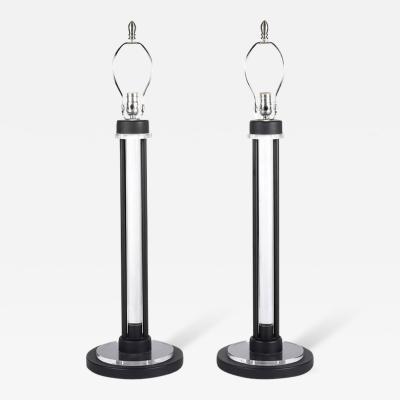 Charles Hollis Jones Lucite and Black Enamel Table Lamps by Charles Hollis Jones circa 1960s