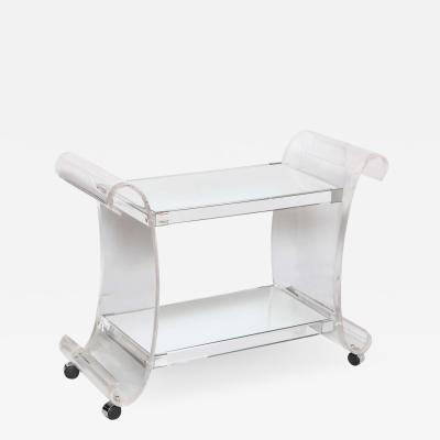 Charles Hollis Jones Lucite and Mirror Bar Cart