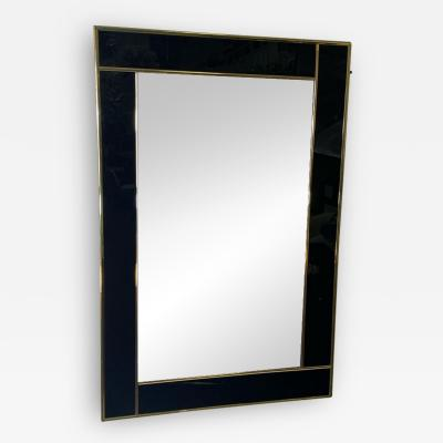 Charles Hollis Jones MODERN BLACK LUCITE AND GOLD METAL FRAMED MIRROR