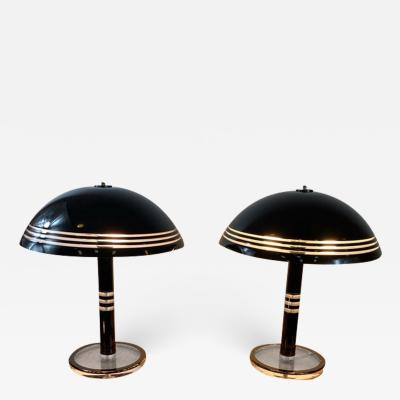 Charles Hollis Jones MODERN PAIR OF BLACK AND CLEAR LUCITE LAMPS