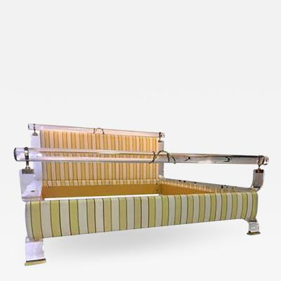 Charles Hollis Jones Magnificent Charles Hollis Jones Lucite and Brass Upholstered Bed