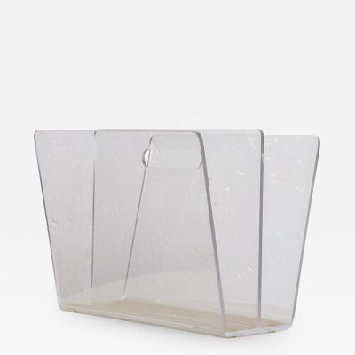 Charles Hollis Jones Mid Century Modern Lucite Magazine Rack After Charles Hollis Jones