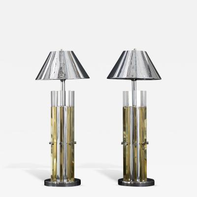 Charles Hollis Jones Mid Century Modern Pair of Brass Chrome Lucite Table Lamps