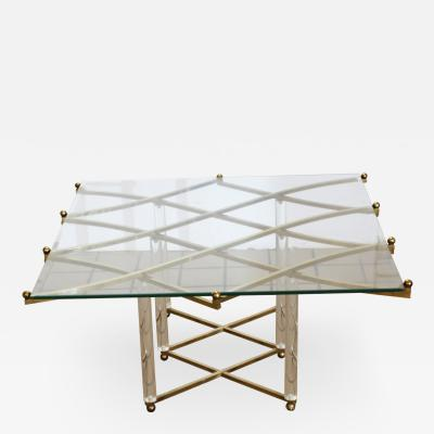 Charles Hollis Jones Mid Century Modern Rare Charles Hollis Jones Treillage Coffee Table Lucite Brass