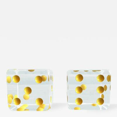 Charles Hollis Jones Oversized Dice Bookends in Lucite by Charles Hollis Jones