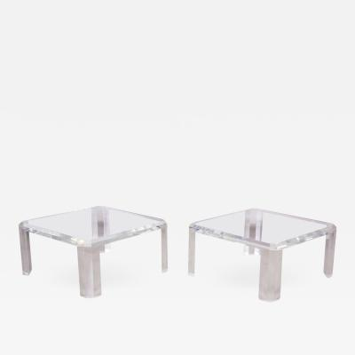 Charles Hollis Jones Pair of Charles Hollis Jones Lucite Coffee Tables or Side Tables