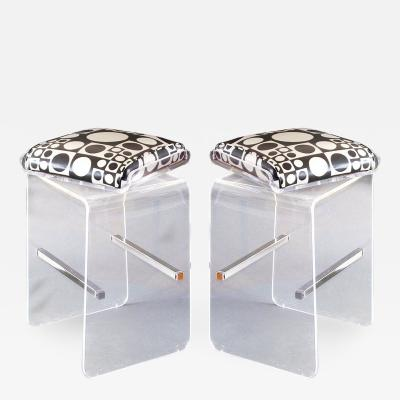 Charles Hollis Jones Pair of Charles Hollis Jones Waterfall Bar Stools in Lucite with Swiveling Seats