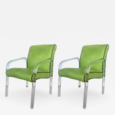 Charles Hollis Jones Pair of Green Lucite Armchairs in the Manner of Charles Hollis Jones