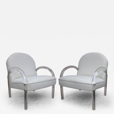 Charles Hollis Jones Pair of Lucite Club Chairs