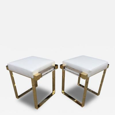 Charles Hollis Jones Pair of Lucite and Brass Box Line Benches by Charles Hollis Jones