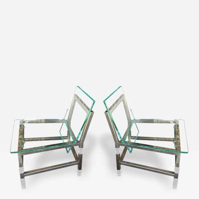 Charles Hollis Jones Pair of Metric Chairs in Lucite and Nickel by Charles Hollis Jones Signed