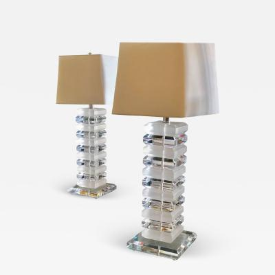 Charles Hollis Jones Pair of Mid Century Modernist Stackable 1970s Tall Lucite Table Lamps