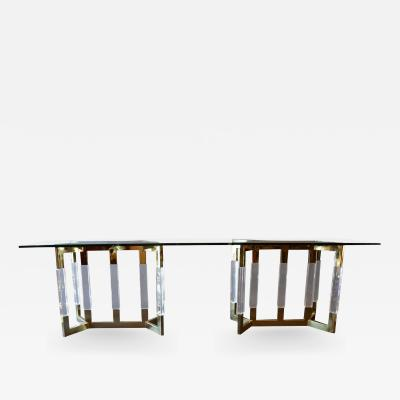 Charles Hollis Jones Polished Brass Console in the Style of Charles Hollis Jones