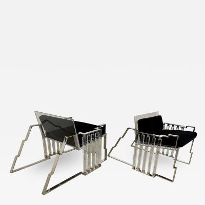 Charles Hollis Jones Pr American Modern Polished Steel Lucite Chairs Charles Hollis Jones