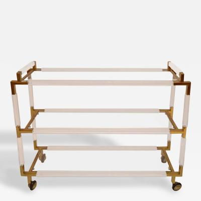 Charles Hollis Jones Rare Charles Hollis Jones Lucite and Brass Bar Cart from the Metric Collection