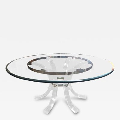 Charles Hollis Jones Round Lucite Chrome Dining Table for 8 by Charles Hollis Jones