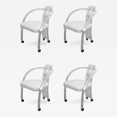 Charles Hollis Jones S 4 Lucite White Leatherette Armchairs on Chrome Casters
