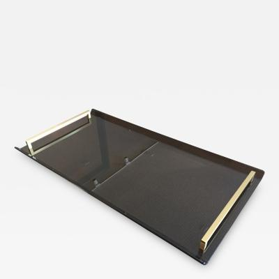 Charles Hollis Jones Serving Tray in Bronzed Lucite and Brass by Charles Hollis Jones