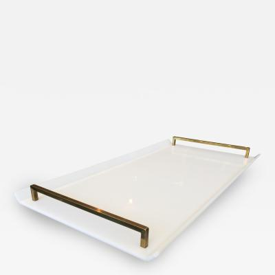 Charles Hollis Jones Serving Tray in White Lucite Brass by Charles Hollis Jones