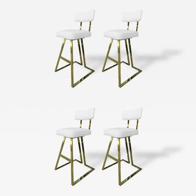 Charles Hollis Jones Set of 4 Solid Brass Barstools With Swivel Seats by Charles Hollis Jones