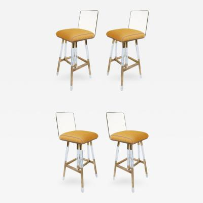 Charles Hollis Jones Set of Four Charles Hollis Jones Barstools from the Metric Collection Signed