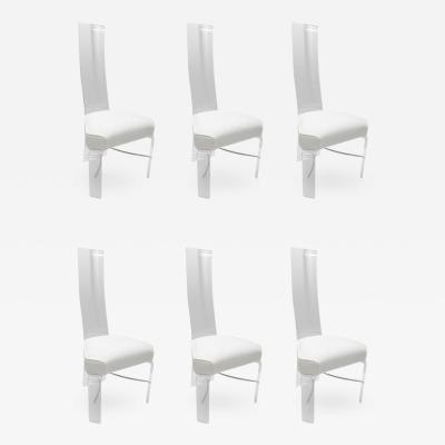 Charles Hollis Jones Set of Six Lucite and Chrome Dining Chairs with White Upholstery