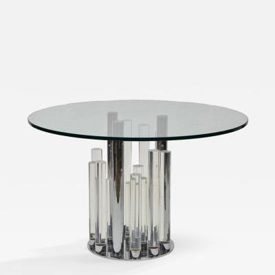 Charles Hollis Jones Skyscraper Dining Center Table in Lucite and Chrome by Charles Hollis Jones
