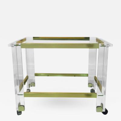 Charles Hollis Jones Stunning Brass and Lucite Bar Cart by Charles Hollis Jones