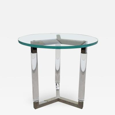 Charles Hollis Jones Tripod Table in Lucite and Polished Nickel by Charles Hollis Jones