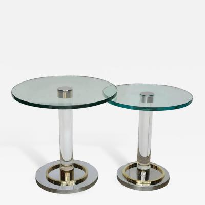 Charles Hollis Jones Two Lucite Brass and Chrome Charles Hollis Jones Occasional Side Tables