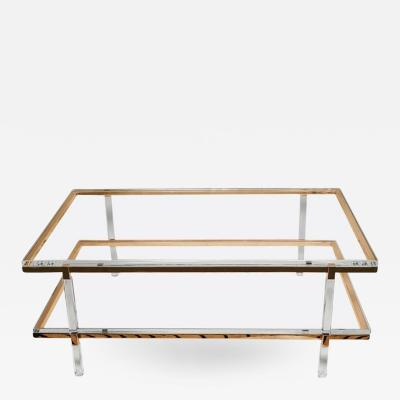 Charles Hollis Jones Two Tier Coffee Table in Lucite Polished Brass by Charles Hollis Jones