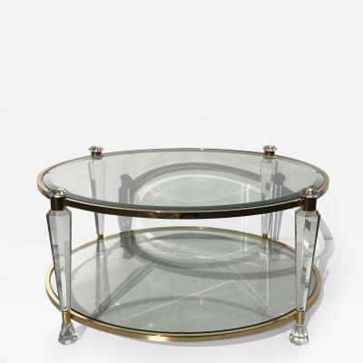 Charles Hollis Jones Two Tier Lucite Round Coffee Table