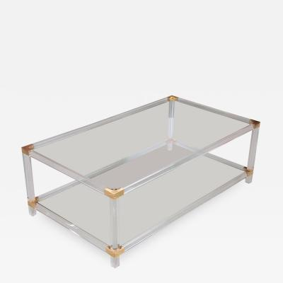 Charles Hollis Jones Two Tier Lucite and Brass Coffee Table in the Style of Charles Hollis Jones