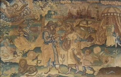 Charles II Antique Silk Work Embroidery Picture of Abraham