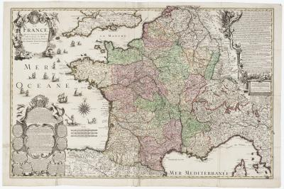 Charles Inselin A decorative four sheet map of France in fine colour