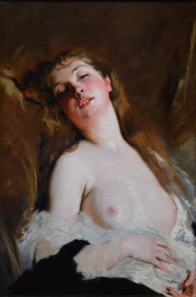Charles Josuah Chaplin LExstase Large 19th Century French Nude Portrait Oil Painting
