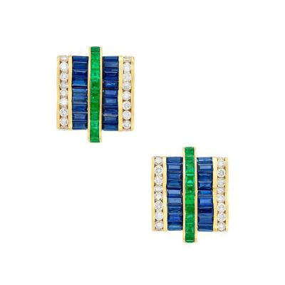 Charles Krypell CHARLES KRYPELL SAPPHIRE EMERALD AND DIAMOND EARRINGS