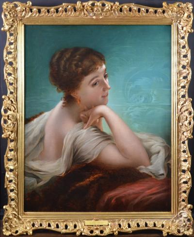 Charles Landseer Daydreams Large 19th Century Oil Painting Portrait of Society Beauty