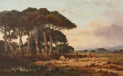 Charles Lefebvre Oil on canvas landscape painting with camels by Lefebvre
