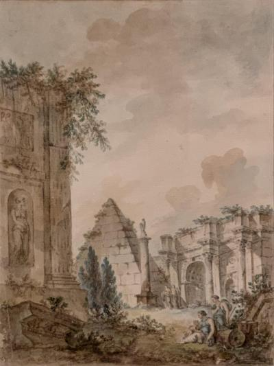 Charles Louis Clerisseau Capriccio with Roman Ruins
