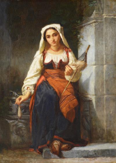 Charles Louis Lucien Muller Une Fille de Filature Large 19th Century Portrait Oil Painting