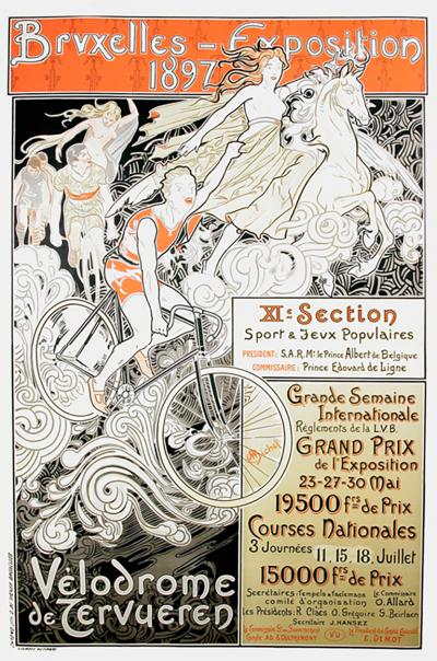 Charles Michel Belgian Art Nouveau Period Bicycle Race Poster by Charles Michel 1897