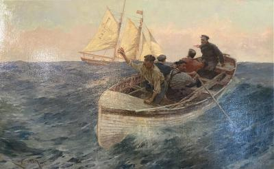 Charles Murray Padday Boat Crew by Charles Murray Padday 1868 1954 Oil on Canvas