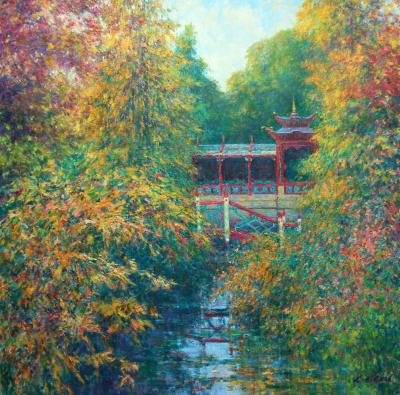 Charles Neal The China Garden Morning Light View to the Temple Biddulph Grange