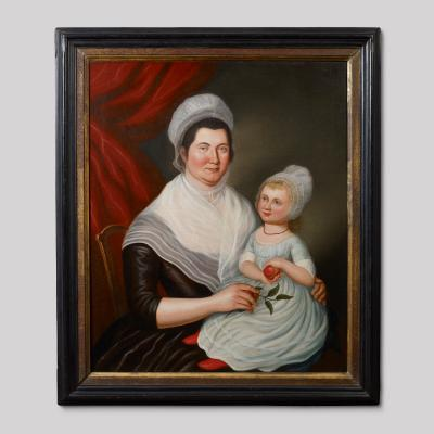 Charles Peale Polk Portrait of Mrs Jacob Ten Broeck and Daughter